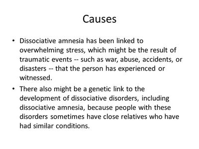 Dissociative Amnesia - Causes and Treatment